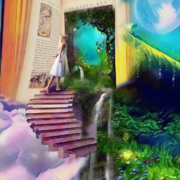 freetoedit book fairytale clouds stairway