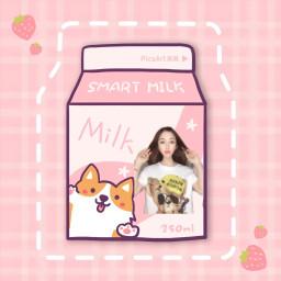 freetoedit 牛奶盒 草莓 milk strawberry