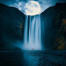 freetoedit waterfall moon water nightsky
