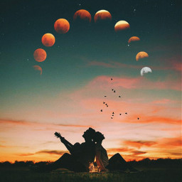 freetoedit moon love couple fire