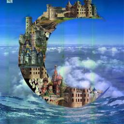 moon houses surreal fantasy myedit freetoedit