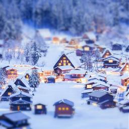 freetoedit tiltshift town snowy winter