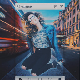 freetoedit jumping hipster girl city