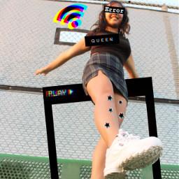 freetoedit glitch aesthetic woman girl