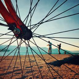 bicycle fishing seaside sunnydays