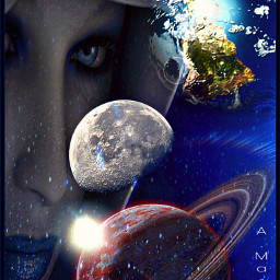 space galaxy goddess woman planets
