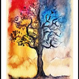 freetoedit watercolorpainting lovepainting arbol paisaje