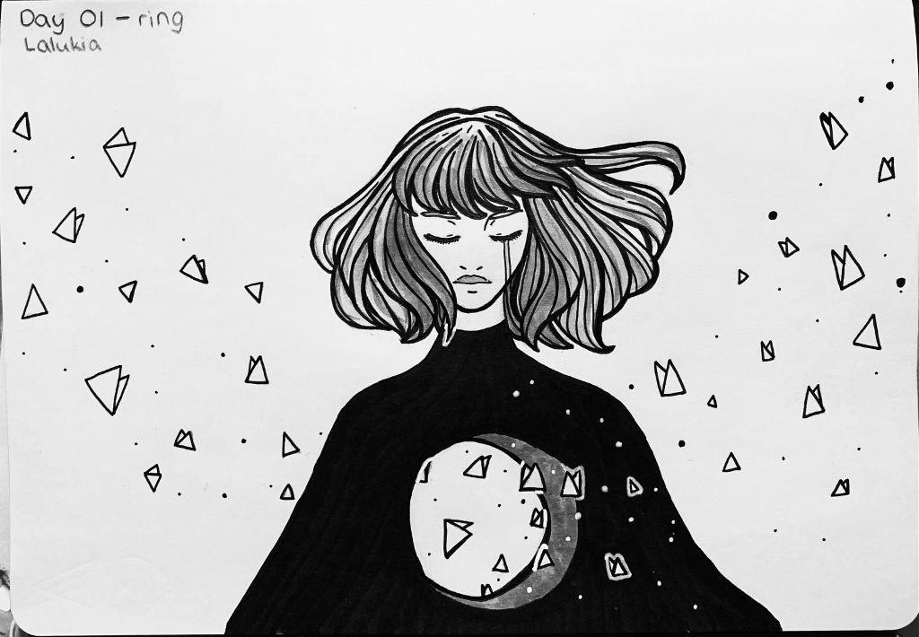 Inktober day O1 - ring . Gris again :')) Honestly, I don't wanted to do Inktober (and I already know that I won't do it till the end :))), but I got too hyped up by other artists and now... here I am doing Inktober haha ha ha a. Guess I like torturing myself 👌🏻 . #inktober #inktober2019 #ring #art #traditional #traditionalart #drawing #draw #inkdrawing #illustration #illustrate #gris #copic #copicmarkers #grisgame #lineart #artwork #grisgamefanart #grisgameart #emptiness #ink #inktoberring #illustration #artist #indiegaming #indiegames #girl #indiegameart