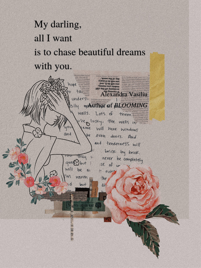 Chasing dreams 🎈🌟 _ #challenge #aesthetic #flowers #sketch #scrapbooking #collageart #newspaper #quote  #freetoedit