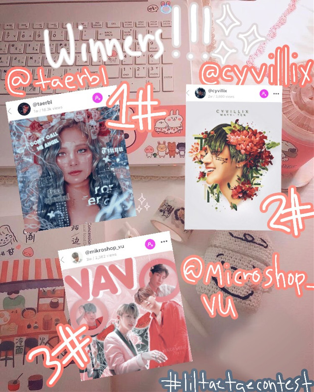 read description for more info 👇🏻👇🏻    Sooo here are the winners for my contest   First= @taerbl   Second= @cyvillix   Third= @mikroshop_vu   For your guys prizes  pleas pm me for your request and to all those whom didn't win its ok all your edits where AMAZING ❤️💖❤️💖   And i wanted to say thank you to @misunique for helping me pick the winners uWu   I HOPE YOU GUYS HAVE A WONDERFUL DAY   im planning on a q&a next time so please stay tuned.     #freetoedit#contest#winners#prize#aesthetic#announcement#liltaetae_jvtcontest