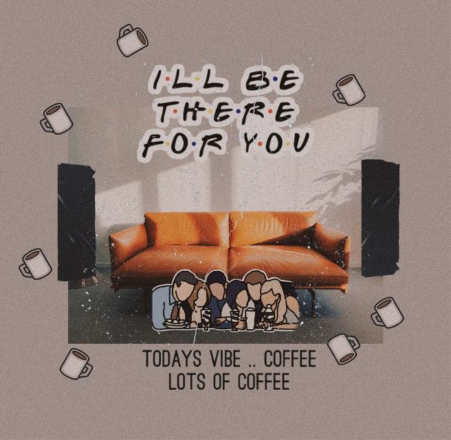 This orange sofa reminded me so much of the one in Friends.🧡   #vintage #aesthetic #warmcoloreffect #collageart #collage #scrapbooking #friends #friendstvshow #illbethereforyou #friendship #coffee #centralperk #coffeestickers #coffeequotes  #freetoedit