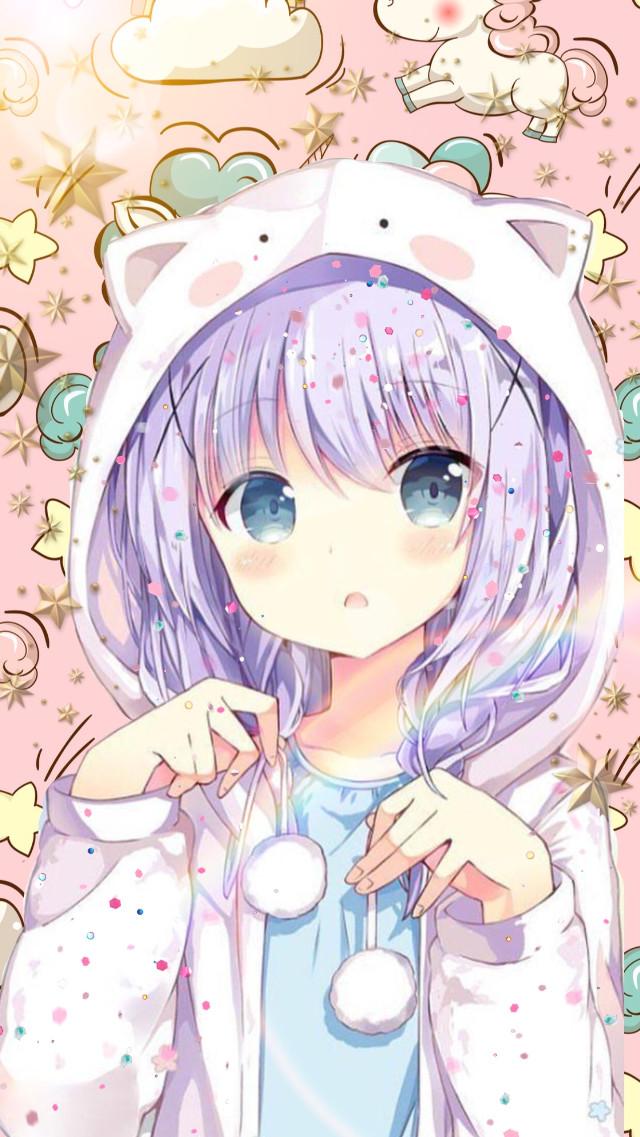 #freetoedit #luvthis #animegirl #cuteandkawaii #unicornbackground #sparkly #rainbow #onesie #sticker #kittycat