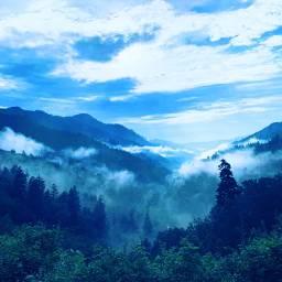 freetoedit mountains hazy trees nature