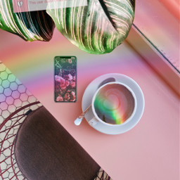 freetoedit aesthetic coffee rainbow phone