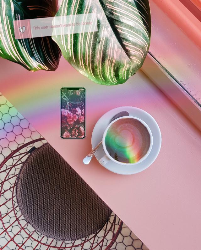 #freetoedit #aesthetic #coffee #rainbow #phone #lonley #chillvibes