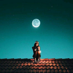 girl alone sad feeling moon freetoedit