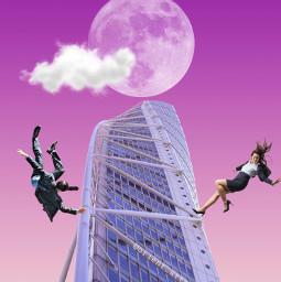 pink skyscraper moon clod falling freetoedit