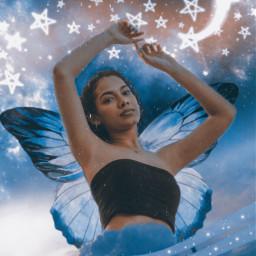 freetoedit butterfly moon stars blue