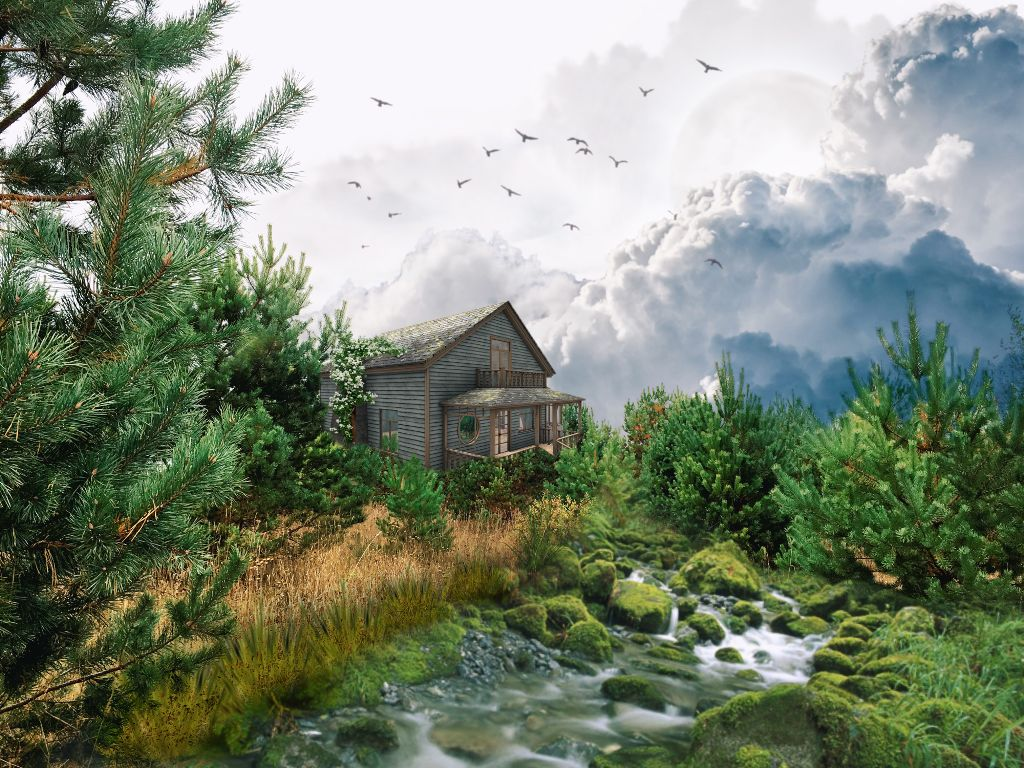 #freetoedit #nature #fantasy #river #forest #clouds #sky #birds #house