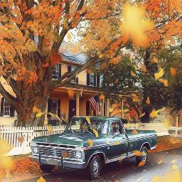 freetoedit leaves truck trees house
