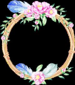 flowers wreath wood feathers circle freetoedit
