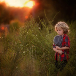 childhood field sunset picsart light