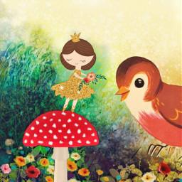freetoedit blissfulpoms fairytale princess flowers