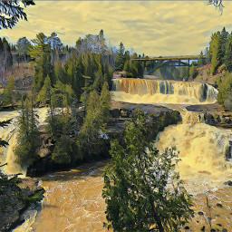 painting waterfalls trees bridge water freetoedit