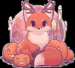 fox pumpkin candle cute spooky scpumpkins freetoedit