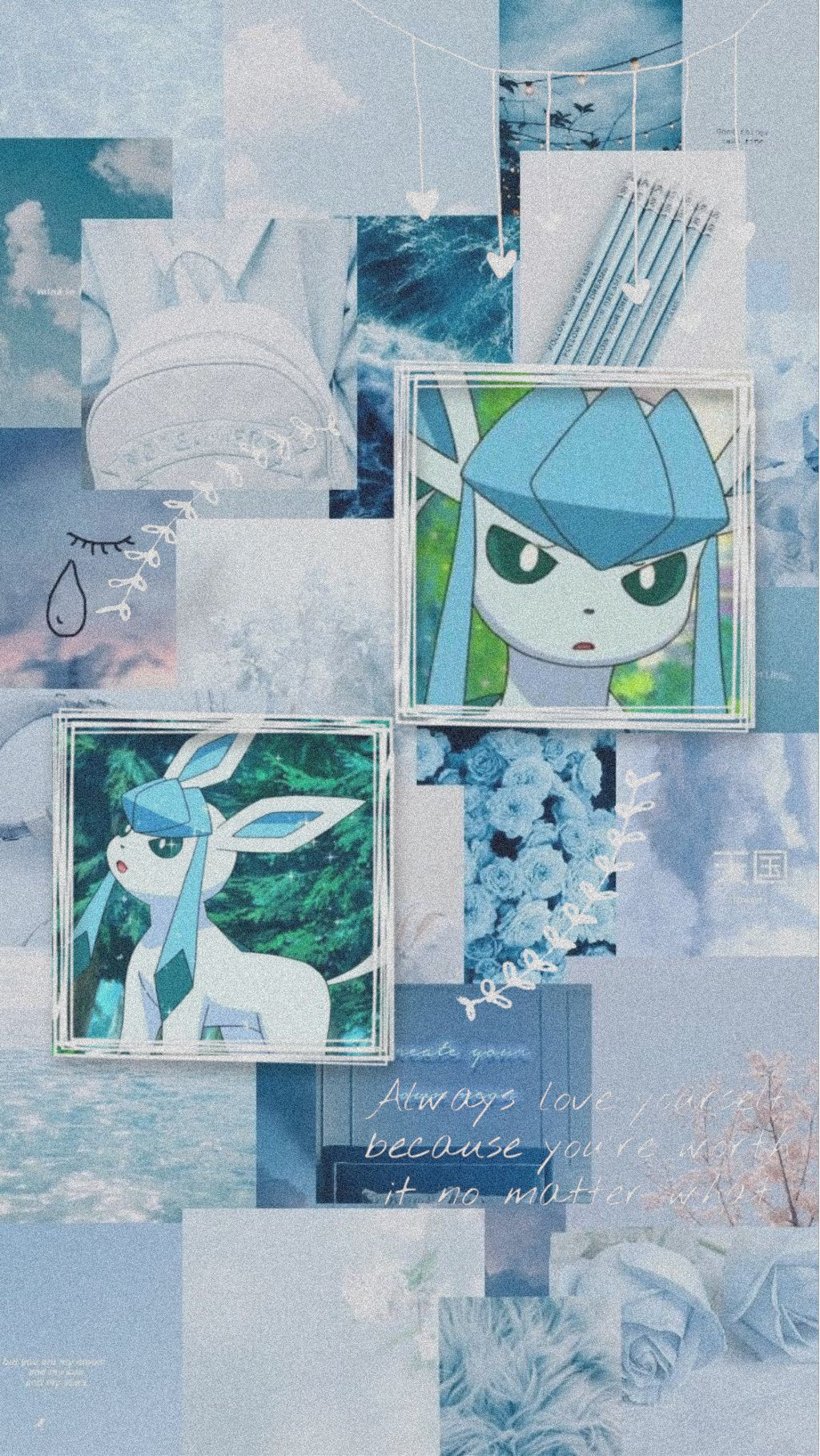 Glaceon Pokemon Wallpaper Aesthetic Blue Freetoedit