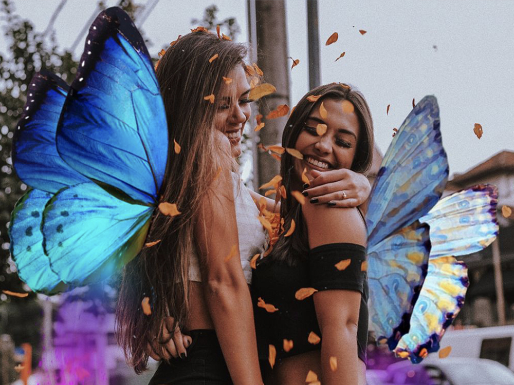 girls with butterfly wings photo effect
