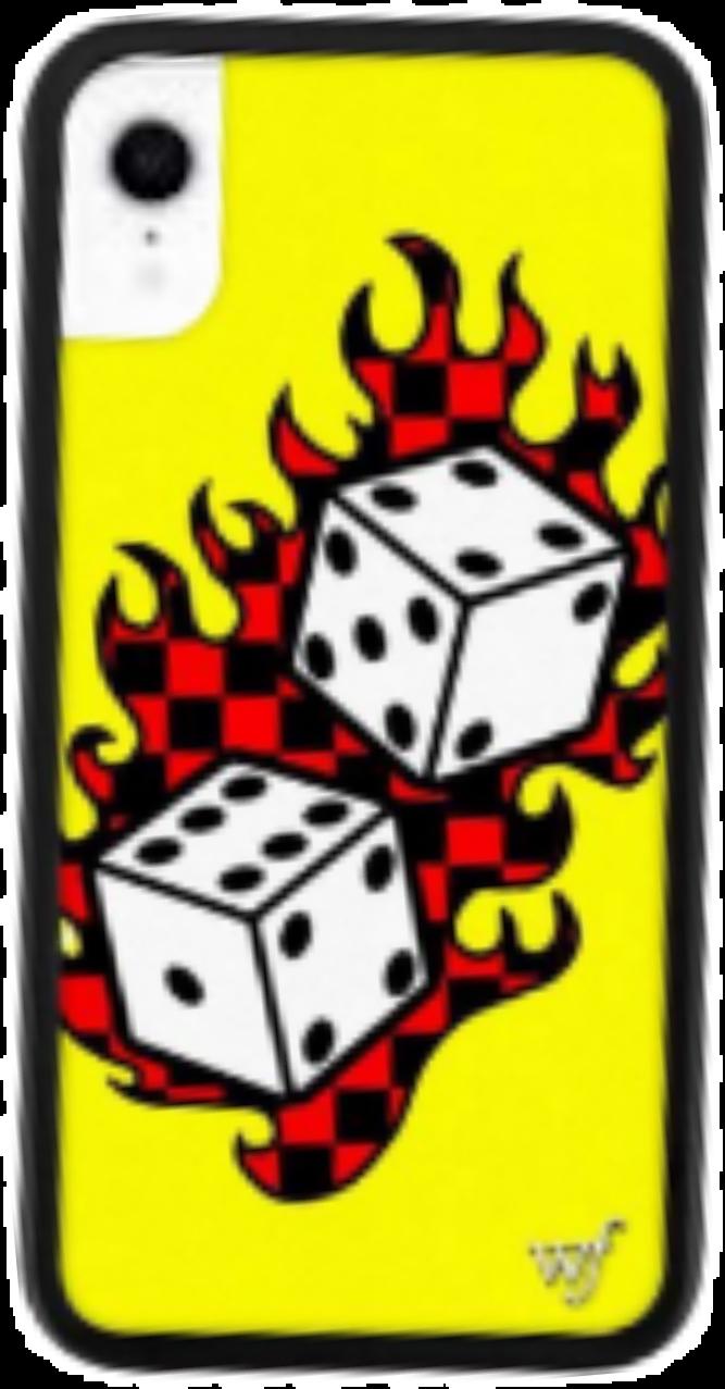 #iphonexr #yellow #flame #dice #phonecase
