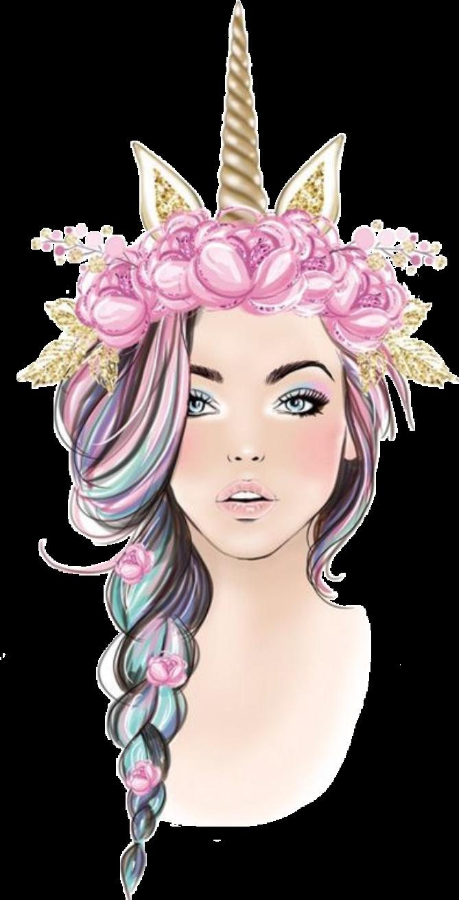 #girl #unicorn #braid #makeup #pretty #hair