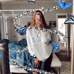 freetoedit aesthetic butterfly blue vsco