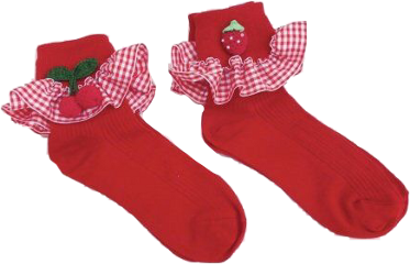 socks strawberry red lace plaid freetoedit