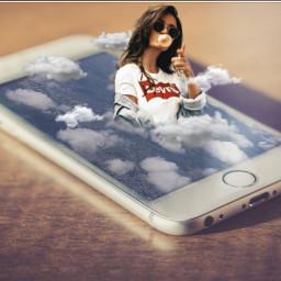 freetoedit 3deffect 3d girl cloud