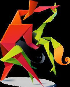 dancing origami origamiart ftestickers paper freetoedit scorigamistickers