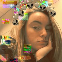 freetoedit glitched glitch alien birthday