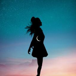 heart moon inside beauty sky freetoedit
