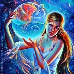 freetoedit midnightmagiceffect oilpaintingeffect beautifull art ircredjellyfish redjellyfish