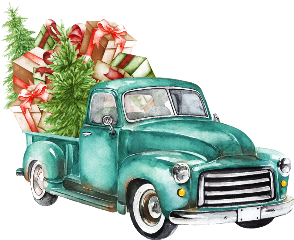 watercolor vintage christmas truck christmastruck freetoedit