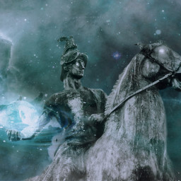 surreal statue mystique galaxy freetoedit