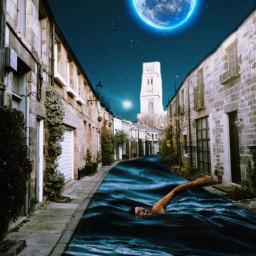 freetoedit vipaziz sky swimmer Water sea moon man star Neighborhood Street