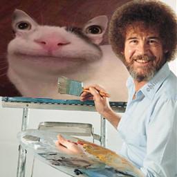bobross bobrossedit art meme cat freetoedit