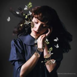 freetoedit woman surreal branch butterflies