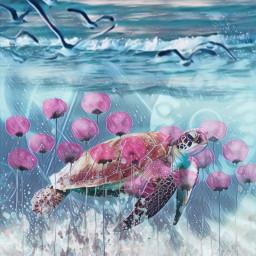 underthesea turtle ocean freetoedit