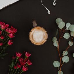 flatlay coffee flowers freetoedit