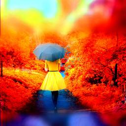 freetoedit woman remix fullcolor autumn