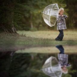 childhood umbrella reflection water trees