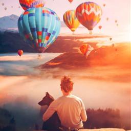 freetoedit paisaje globos🎈 aeroststico dog